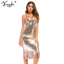 Sexy Bling sequins summer dress women robe femme party Long dress elegant maxi tassel luxury Night club bodycon dresses vestidos цена