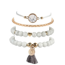 tassel cobblestone fashion trend four-piece bracelet
