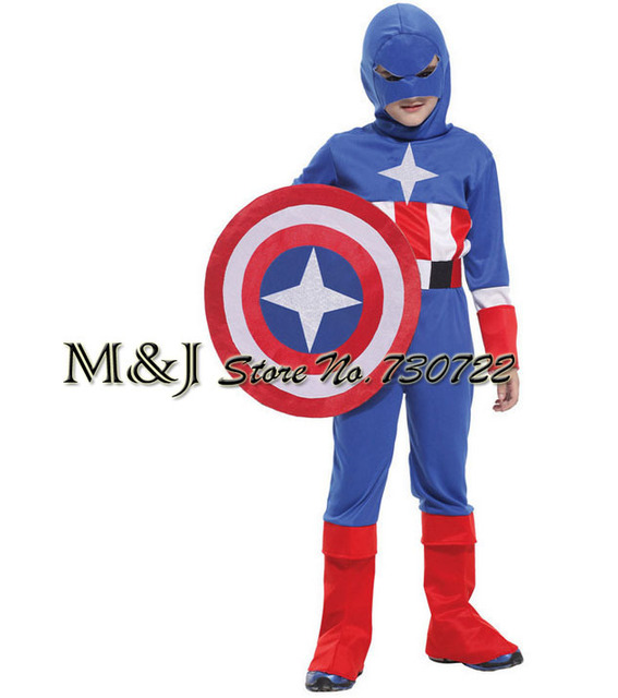 Free shipping!!Children's armor soldier captain America show contains the shield cosplay costume festival carnival costume party