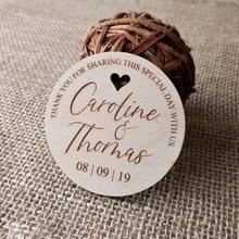 Teşekkür ederim düğün iyilik düğün Favor mıknatıs, gelin, damat, hediye, tarihi kaydetmek