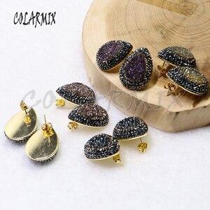 Image 4 - Boucles doreilles druzes pour femmes, 10 paires, boucles doreilles à clous en pierre, mélange de couleurs, imitation druzes, vente en gros de bijoux, tendance 7021