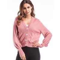 2017 Hot Sale Autumn Winter Sweater Cardigan Pacthwork Lantern Sleeve Pockets Women S Loose Outerwear Tops