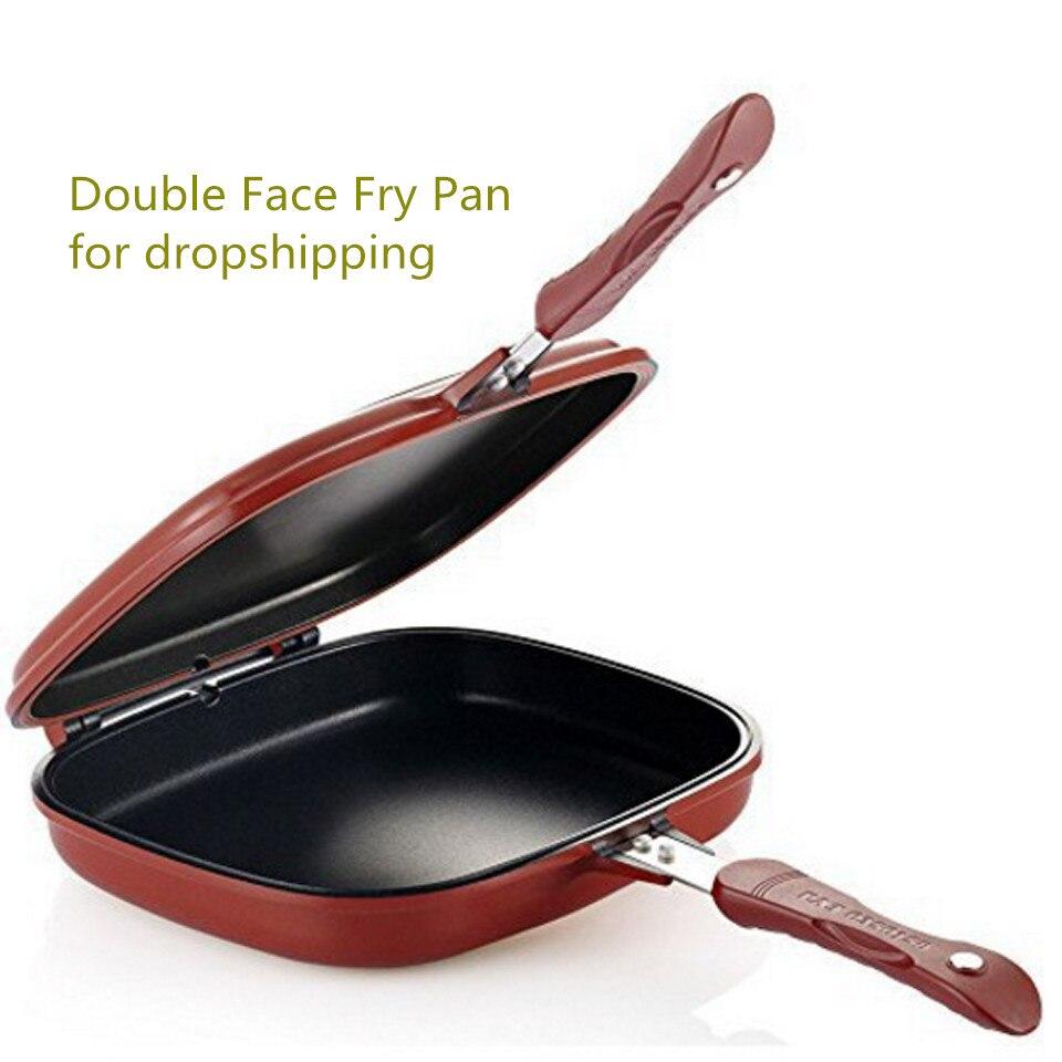 28cm taille antiadhésive en acier inoxydable Double Face gril poêle ustensiles de cuisine Double Face poêle Steak oeufs poêle à frire fournitures de cuisine