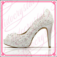 Aidocrystal luxury handmade high quality white peep toe lace and crystal high heel shoes for bridal