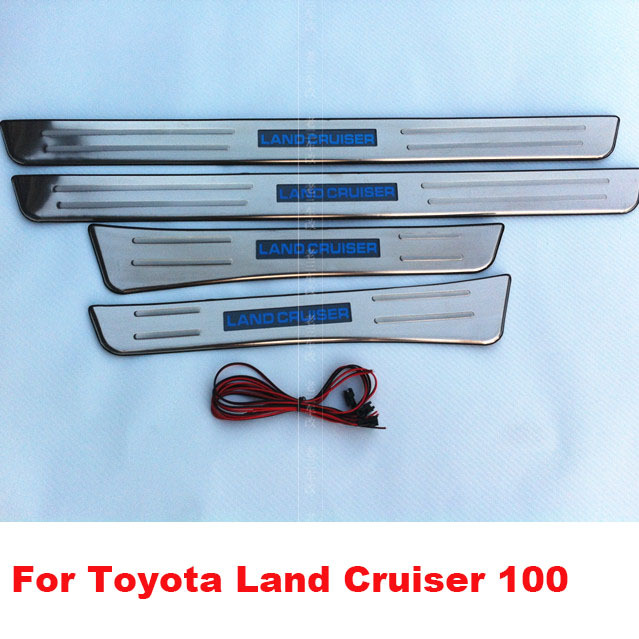 Stainless LED Interior Door Sill Scuff Plate Pads For Toyota Land Cruiser 100 LC 100 Accessories