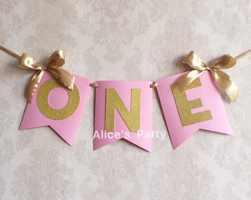Custom Pink Gold ONE Banner highchair bunting first birthday Flag baby 1st 2nd 3rd Birthday Party Decorations Home ribbon bow
