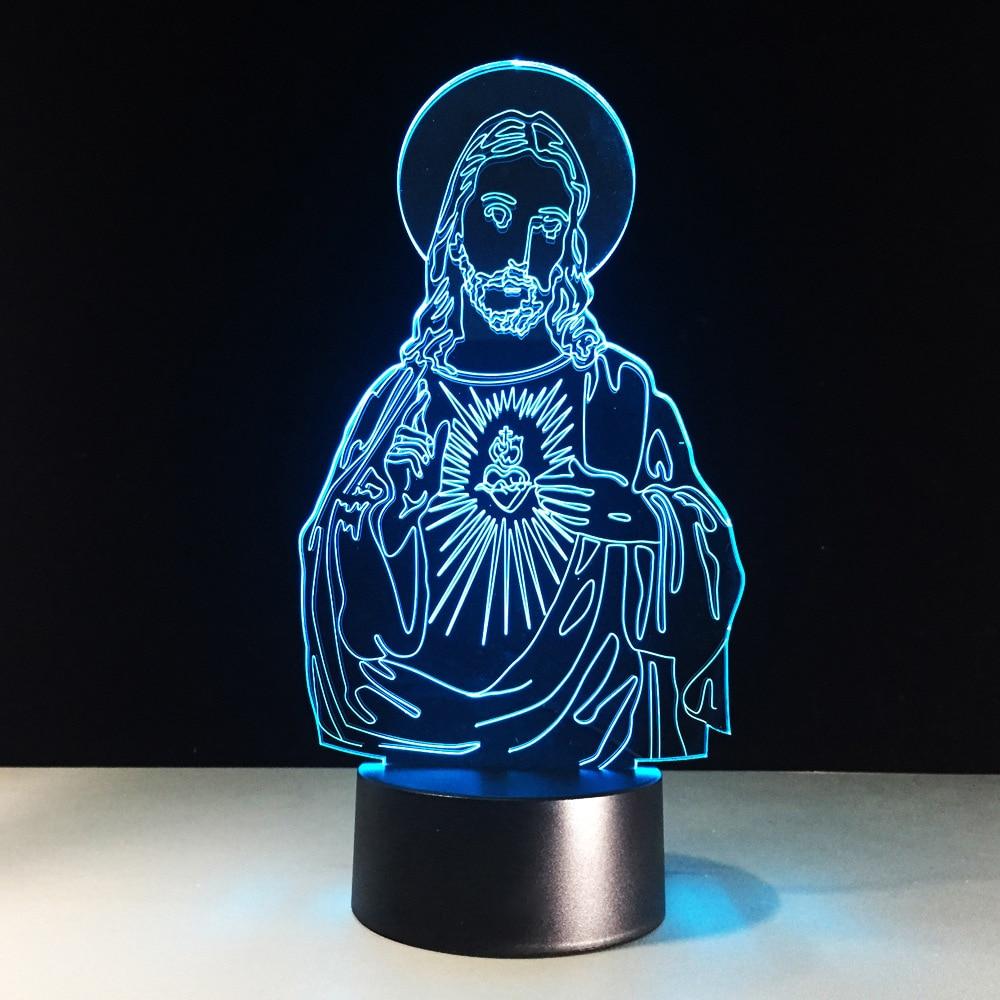 Baby Sleeping Bedside Table Lighting 3D LED Vision Jesus Christ Lamp Colors Changing Night Light Christmas Gift Decor Luminaria