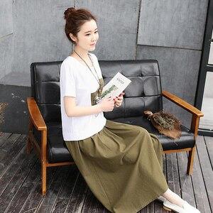 Image 4 - 2020 Summer Women Set Skirt Suit White print Cotton linen Tees Top Loose  Female Two Piece set (T Shirt+Skirt) womens clothing