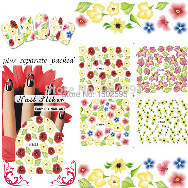 MAYOR de 50 hojas/lot Full-uñas punta del Tatuaje Nail sticker Agua tatuajes de La Flor de accesorios Del Arte del clavo + que se Entrega
