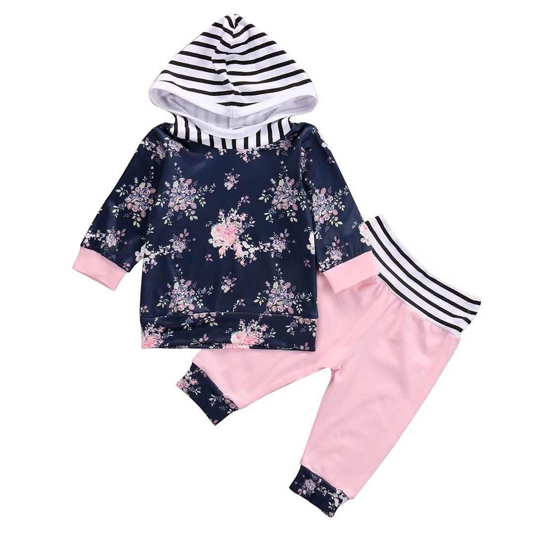 Hooded Tops Cotton Long Sleeve Pants 2Pcs Outfits Set Baby Girl Clothing New Arrival Floral Infant Baby Girls Clothes Set 3pcs set newborn infant baby boy girl clothes 2017 summer short sleeve leopard floral romper bodysuit headband shoes outfits