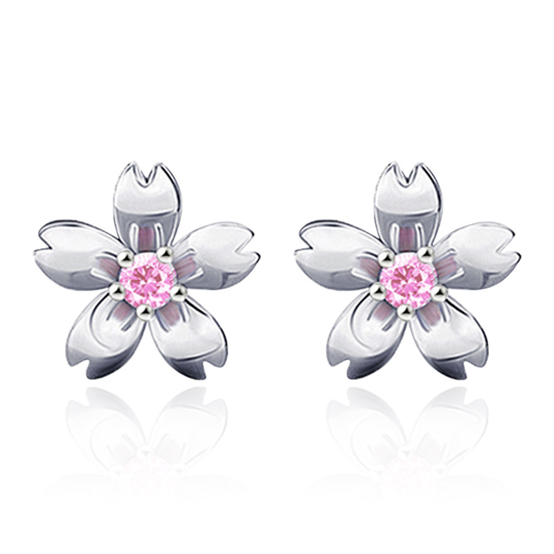 925 sterling silver fashion peach blossom flower crystal ladies stud earrings jewelry women birthday gift Anti allergy