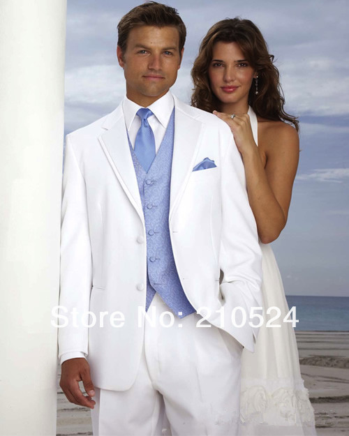 Blue Wedding Tux: White Groom Tuxedos Men's Wedding Dress Suits Prom Gown