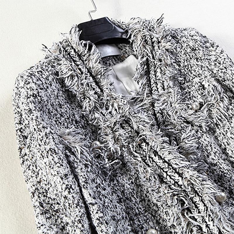 Conception Bouton Femmes Veste 2018 Argent Mode Manches Classique Cardigan Élégant Polyester Style Longues Décoration 100 Manteau Nouvelle Slim HqXxWpF