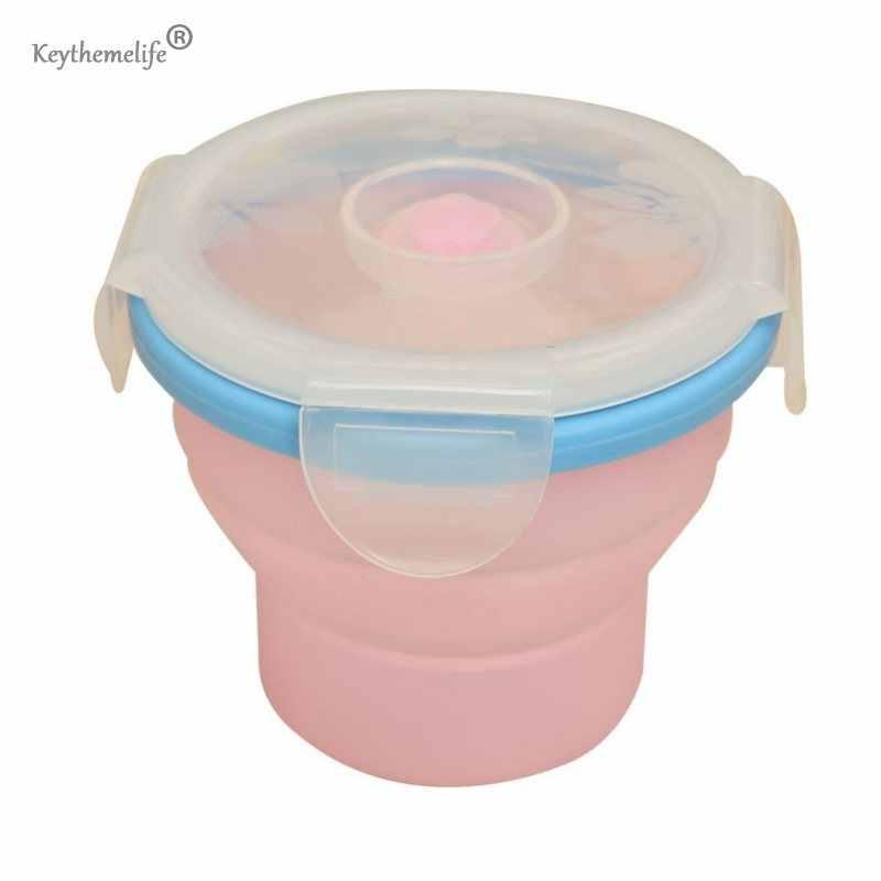 1 PCS Microondas Silicone Lancheira Dobrável Redonda B0 Boxs Almoço Bento Eco Recipiente de Alimento 200 ml