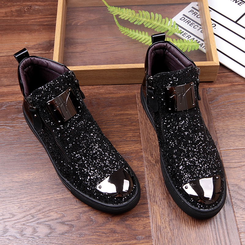 Movechain New Men's Casual Fashion Zipper Outdoor High-Top Shoes Man Slip-On Boots Mens Driving Party Flats 2