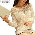 ZANZEA 2017 Весна Осень Женщины Повседневная Кружева Блузка Топы Sexy Выдалбливают Крючком Бисером Рубашку Blusas 2 Стиль L-5XL Блузки белый