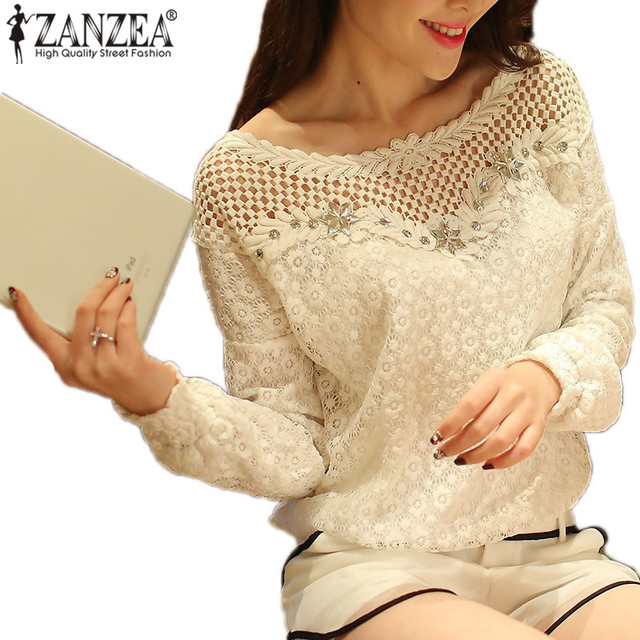 00bff9d623b ZANZEA 2018 Spring Autumn Women Casual Lace Blouse Tops Sexy Hollow Out  Crochet Beading Shirt Blusas