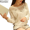 Zanzea 2017 primavera y otoño mujeres casual blusa de encaje tops sexy ahueca hacia Fuera el Ganchillo Rebordear Blusas Blusas Camisa 2 Estilo L-5XL blanco