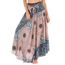 Falda larga estilo Hippie para mujer, Falda con flores bohemias, cintura elástica, Floral, con cuello Halter