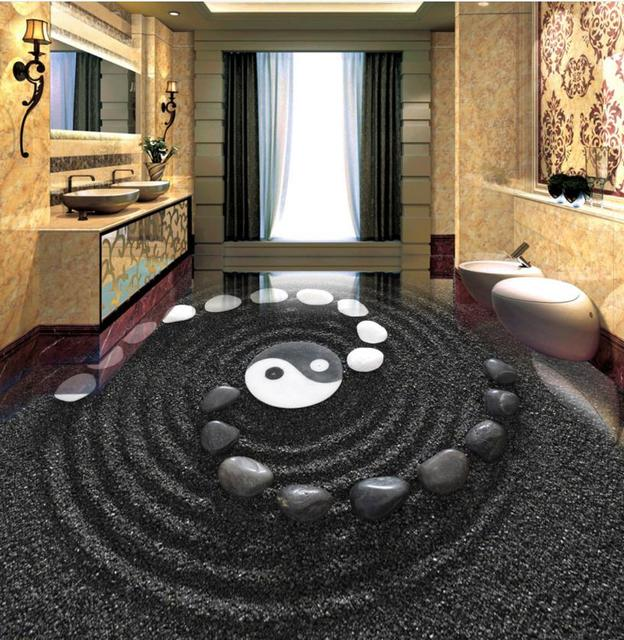 3d Bodenbelag Schwarz Sand Kies Benutzerdefinierte 3d Bad Bodenbelag