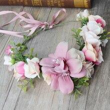 Handmade Wreath Garland Bridal Hair Accessories Travel Photo Headdress Wedding Festival Artificial Flower Decoration