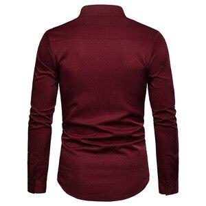 Image 3 - Mens Solid แมนดาริน 2019 เสื้อลำลอง SLIM FIT ไวน์แดงชุดเสื้อสำหรับชายขนาด Woke Tops Camisas social Masculina