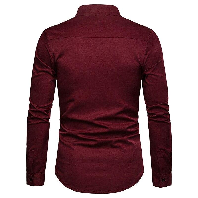 Image 3 - Mens Solid Mandarin Collar Shirt 2019 Casual Slim Fit Wine Red Dress Shirts For Men Plus Size Woke Tops Camisas Social MasculinaCasual Shirts   -