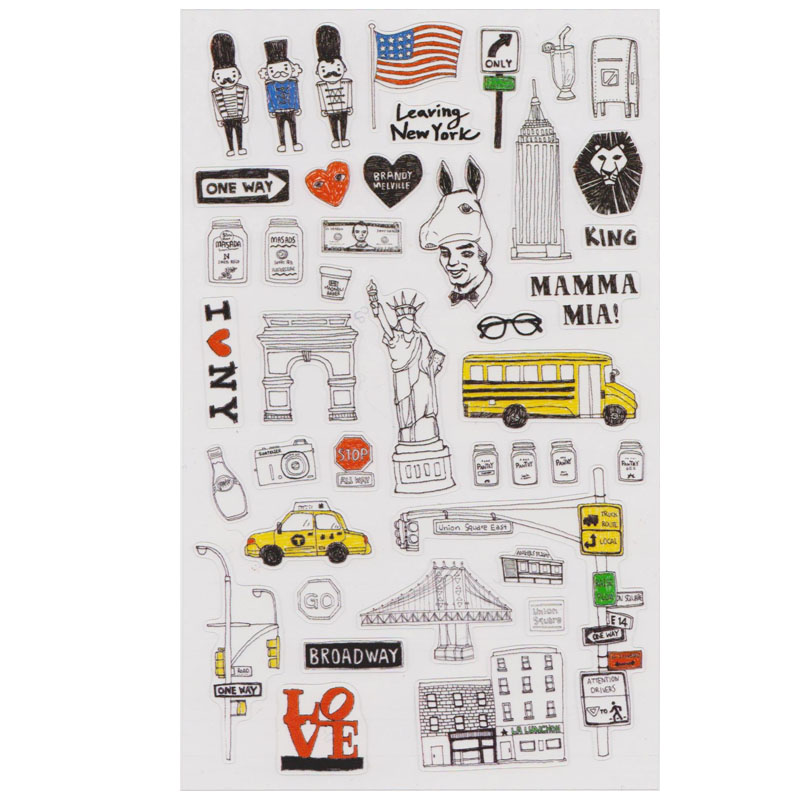 1 stks New York DIY Stickers Decoratieve Stickers voor Dagboek Scrapbook Kalender Notebook Label Decoratie