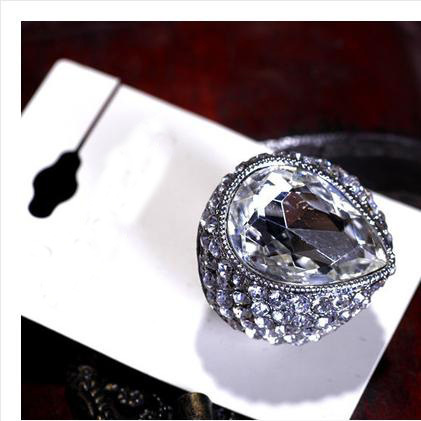 New Fashion Crystal Stretch Exaggerated Gem Jewelry Rings For Women Wholesale YX1563 Jewellery ABC