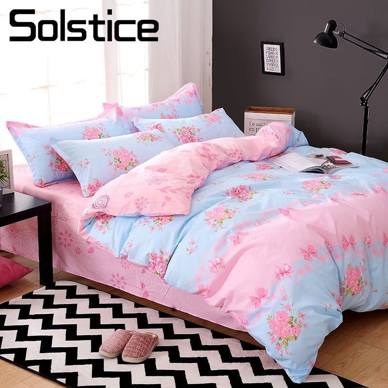 Solstice Home Textile King Queen Twin Bedding Set Girl Teen Adult Woman Linens Suit Pink Flower Bed Sheet Duvet Cover Pillowcase