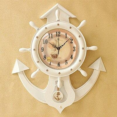 Dessin animé horloge murale gouvernail horloge salon bureau créatif 20 pouces méditerranéen muet Quartz horloge murale décor moderne