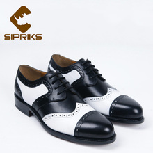 Luxury custom mens welted shoes black and white leather