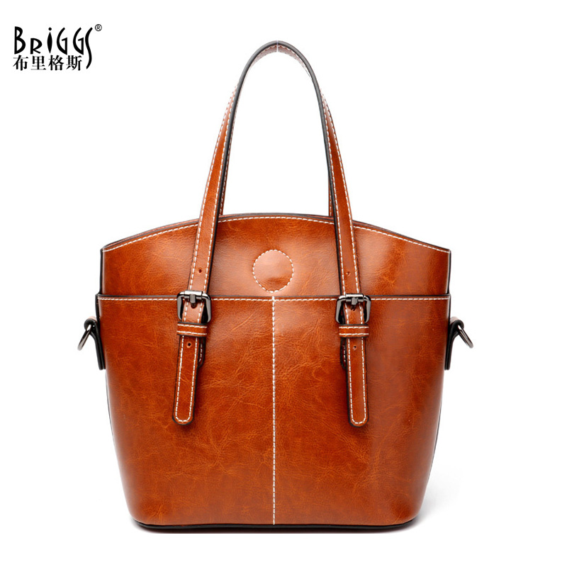 BRIGGS Vintage Genuine Leather Bag Female Famous Brands Luxury Handbags Women Bags Designer Shoulder Messenger Bags sgarr soft leather handbags women famous brands luxury bag designer quality casual lady messenger bag female large shoulder bags
