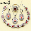 Red Created Garnet White Imitated Topaz Wedding Jewelry Set 925 Sterling Silver Women Earrings Ring Necklace Pendant Bracelet