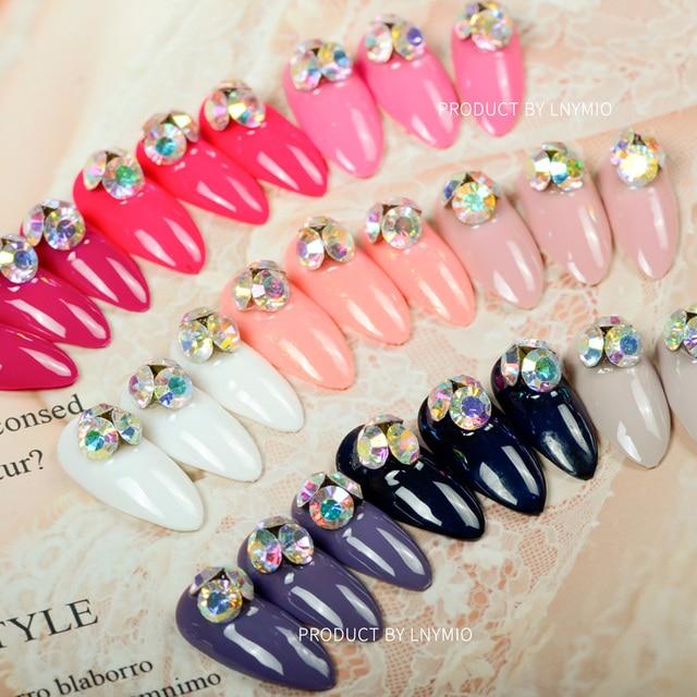 Decoration Color Fake Nails With Rhinestone Rose White Black Purple Orange Etc Press On Aritifical