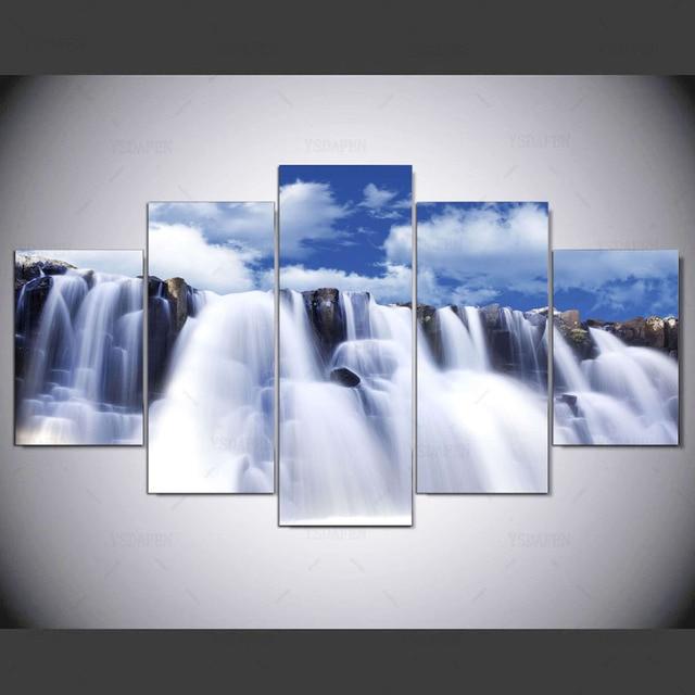 5 Stuk Canvas Khung Moderne Abstracte Witte Niagara falls Canvas Art In Muur Hình Ảnh Thuis Trang Trí Nội Thất ny-1401
