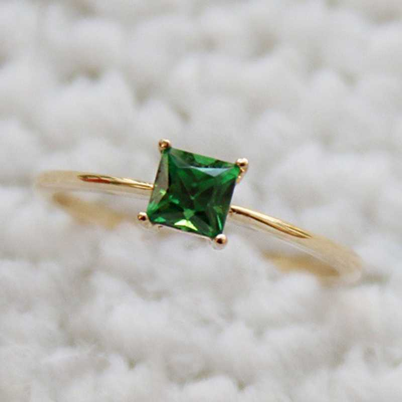 Fashion Desgin  Ring Big Square Green Stone Rings For Women Jewelry Wedding Engagement Gift  Luxury Inlaid Stone Rings