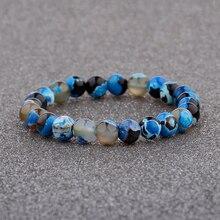 6 Style 8mm Blue Nature Stone Strand Bracelets Multicolor 7 Chakra Healing Balance Bracelet Yoga Reiki Prayer Bijoux AB206