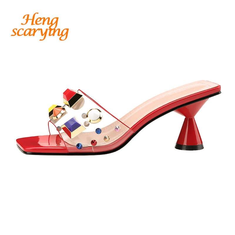 33fcc3266cf9 2019 стильные летние женские туфли на высоком каблуке 6 см, украшенные  кристаллами, ...