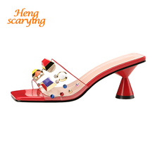 2019 Style Summer Women Crystal 6cm High Heels Mules Shales Slides Female Rivets Strange Heels Slippers Sexy Fashion Nude Shoes