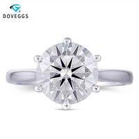 DovEggs центр 3ct карат 9 мм GH цвет Муассанит Помолвочные кольца с бриллиантом для женщин платиновым покрытием серебро 925 Обручальное кольцо