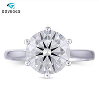 DovEggs Center 3ct Carat 9mm GH Color Moissanite Diamond Engagement Rings For Women Platinum Plated Silver 925 Wedding Ring