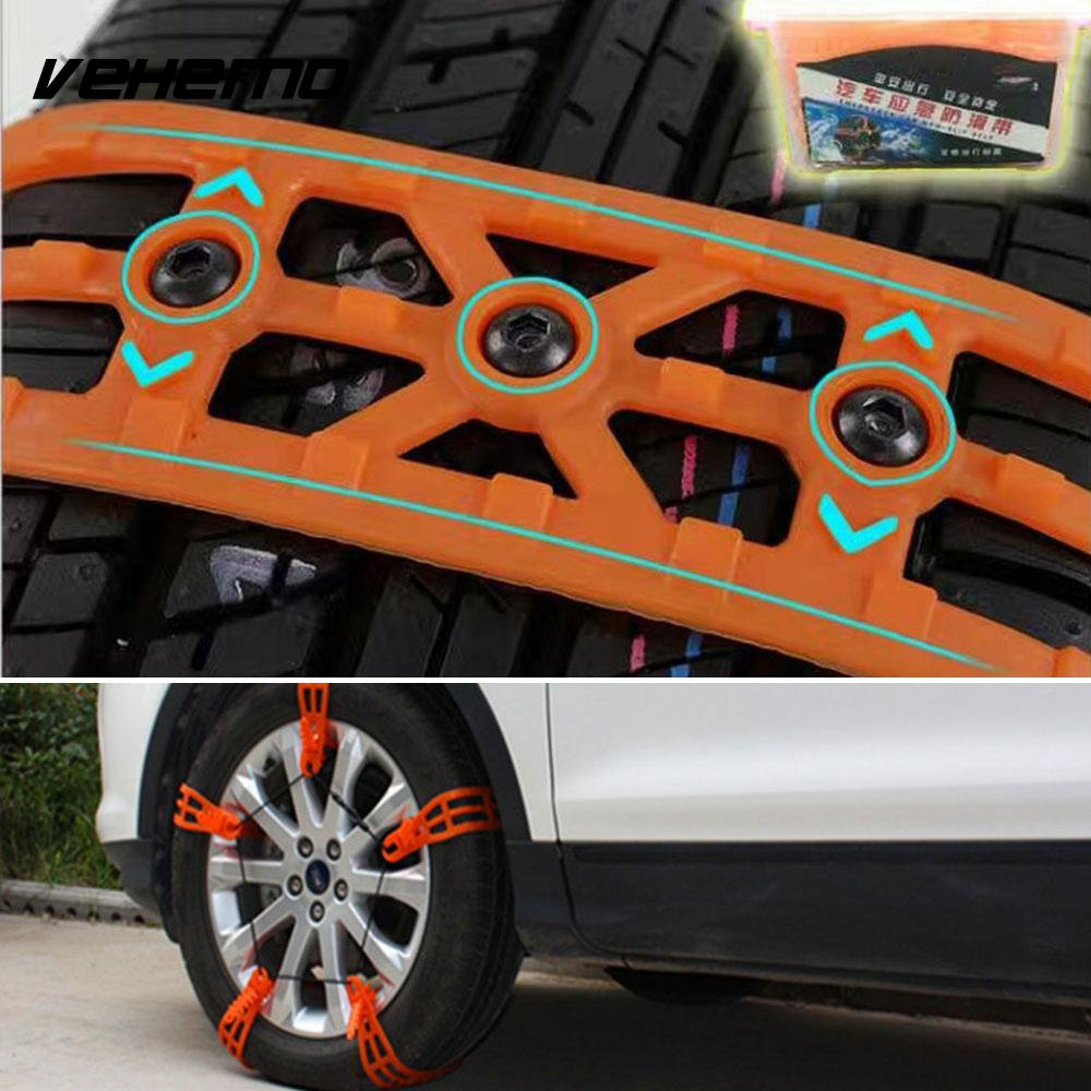 Vehemo 1 Pc Orange Snow Tire Belt Snow Chain Climbing Mud Ground Anti-Skid Chains Roadway Safety Emergency Thickened