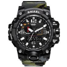 Smael Спорт Для мужчин часы двойной Дисплей цифровые часы Для мужчин LED Водонепроницаемый наручные Военная Униформа мужской часы Relogio сайт hodinky 41