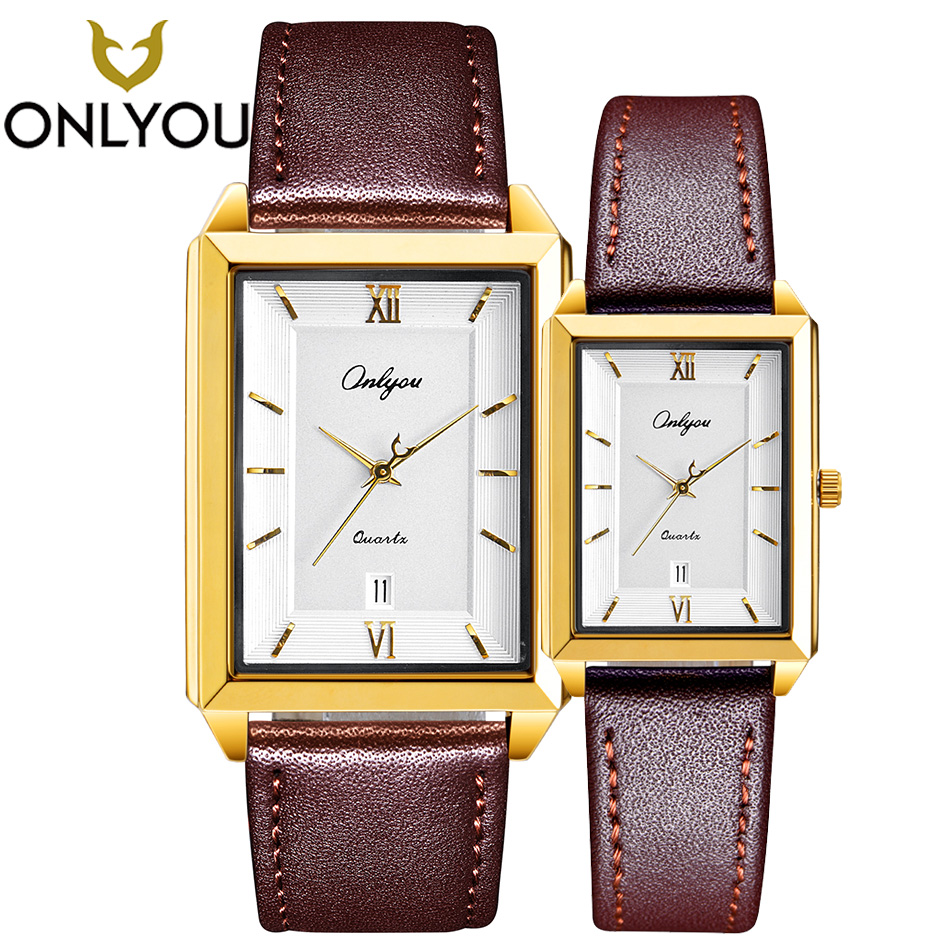 ONLYOU Lover Watches Couple Valentine's Day Gifts Anniversary Gold Quartz Wristwatch Men Top Brand Luxury Clock Bracelet Women onlyou lover watches couple fashion unique wristwatch chinese style valentine s day present gift women caual quartz clock
