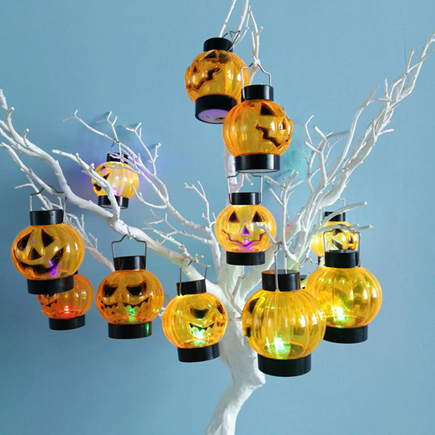 Horror Scary LED Glowing Pumpkin Spider Web Lamp White Black Skeleton Bone Shape Battery Operated Lights for Halloween Props