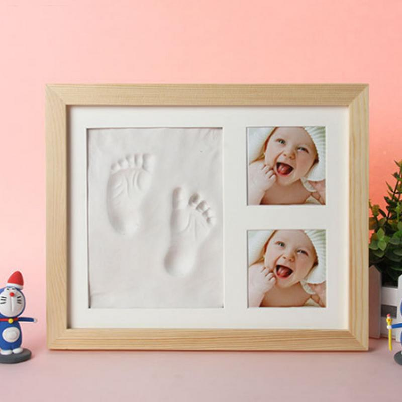 Baby's Hands And Feet Mold Hand & Footprint Makers High-Grade Solid Wooden Photo Frame With Cover Fingerprint Mud Set Xmax Gift