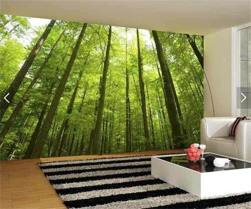 3D Номер фото обои на заказ росписи Нетканые стикер зелёный бамбуковый лес живопись ТВ установка стены 3d фрески обои