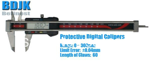 0~300mm Protective Digital Vernier Calipers Electronic Length Measuring Instrument with 0.04mm Limit Error