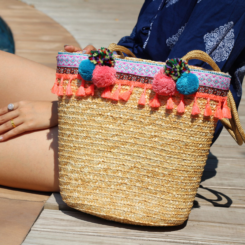 Origine summer beach Tissé sacs broderie gland épaule sacs faits à la main De Paille sacs